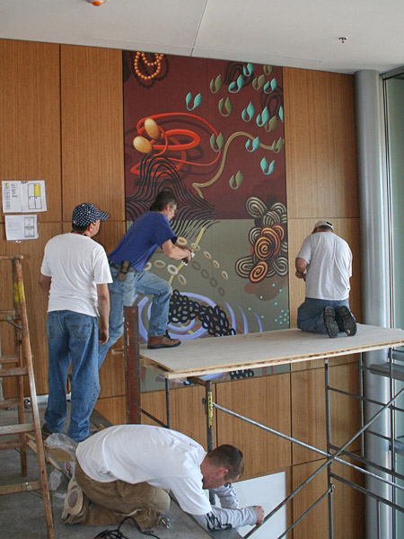 "Meditech Lobby Paintings: Installation View #1, each 60 x 120"", 2008"